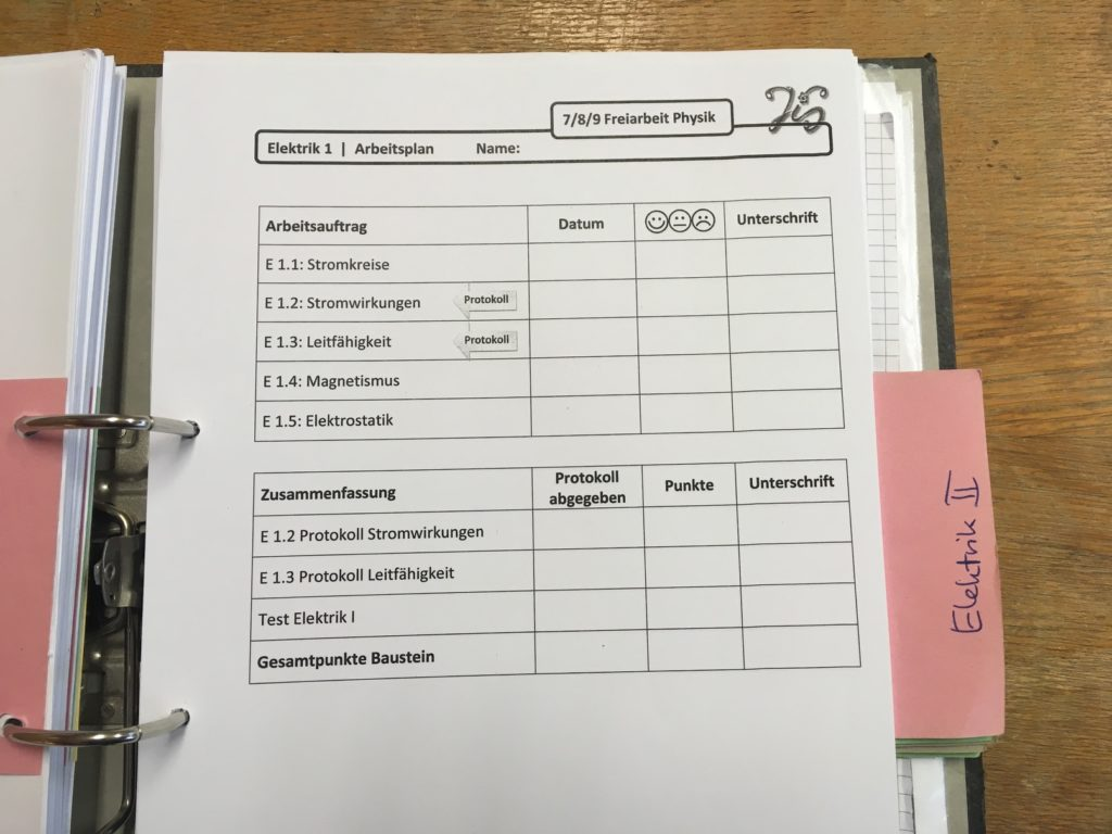 Arbeitsplan Elektrik 1- Freiarbeit Physik