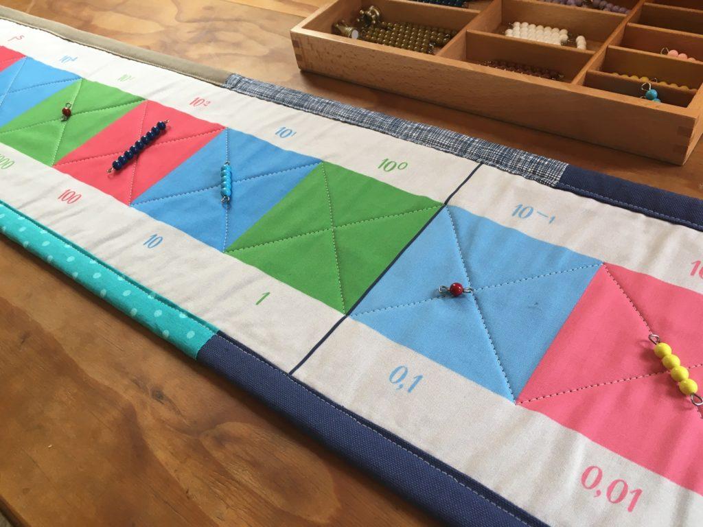 Dezimalstreifen - Rechenteppich zum Rechnen mit Dezimalzahlen nach Montessori Prinzipien